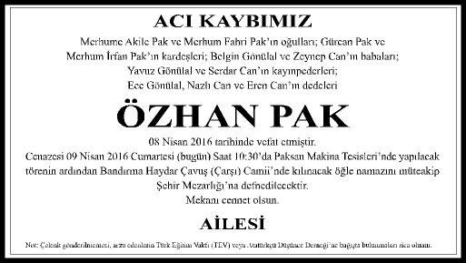 ACI KAYBIMIZ - OZHAN PAK - AILE- 5x10