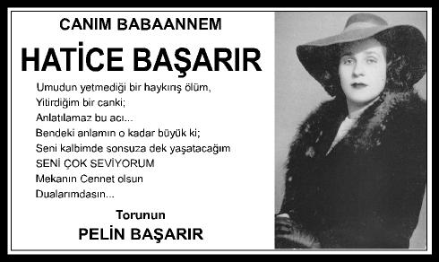 HATİCE BAŞARIR - VEFAT İLANI